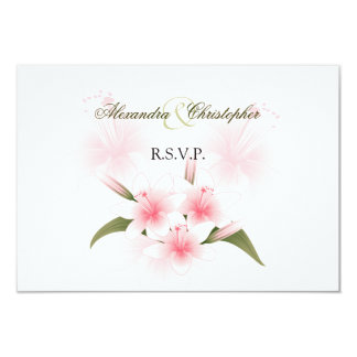 Pink & White Lilies Wedding RSVP Personalized Invitations