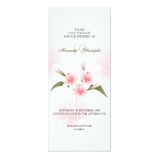 Pink & White Lilies Wedding Save The Date 10 Cm X 24 Cm Invitation Card