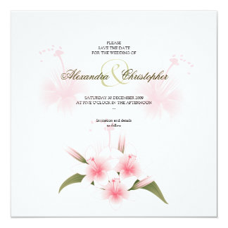 Pink & White Lilies Wedding Save The Date 13 Cm X 13 Cm Square Invitation Card