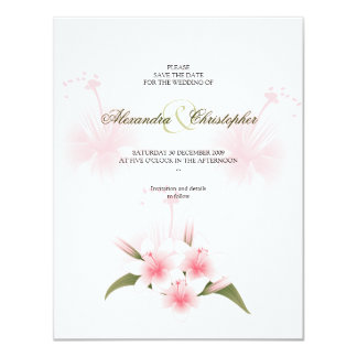 Pink & White Lilies Wedding Save The Date Announce 11 Cm X 14 Cm Invitation Card
