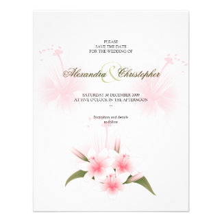 Pink & White Lilies Wedding Save The Date Announce Custom Invitations