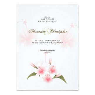 Pink & White Lilies Wedding Save The Date Announce Invitations