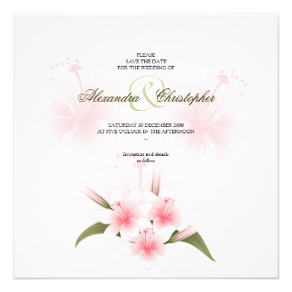 Pink & White Lilies Wedding Save The Date Personalized Invitation