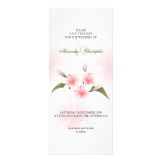 Pink & White Lilies Wedding Save The Date Personalized Announcement