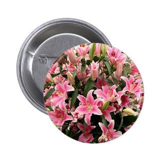 Pink & white liliums 6 cm round badge