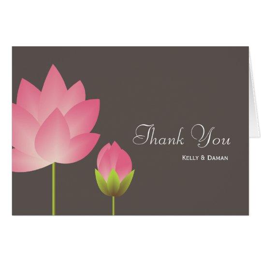 Pink white lotus flower modern grey thank you