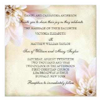 Pink White Lotus Flower Wedding Card