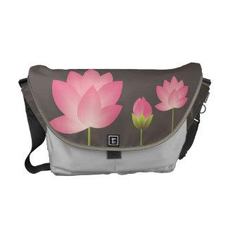 Pink white lotus flowers blossom modern slate gray commuter bags