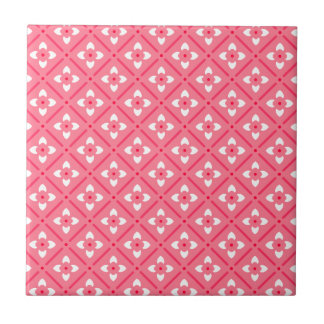 Pink & White Lotus Flowers Pattern Small Square Tile