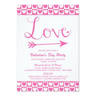 Pink & White Love Hearts Valentine's Day Party 13 Cm X 18 Cm Invitation Card