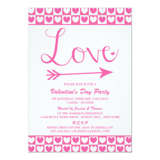 Pink & White Love Hearts Valentine's Day Party Card
