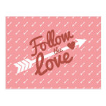 Pink & White Love Red Heart Arrow Postcard