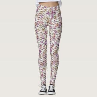 Pink white Mermaid Scale Print Leggings