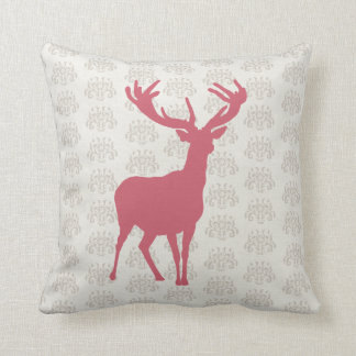 Pink White Modern Stag Picture Cushion Pillow