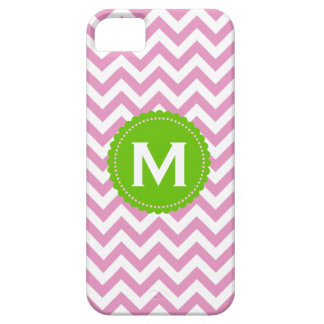 Pink White Monogram Chevron Pattern iPhone 5 Cases