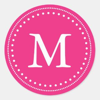 Pink & White Monogram Envelope Seal Round Sticker