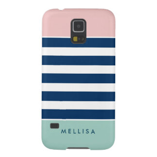 Pink White Navy Mint Stripes - Simple Elegant Galaxy S5 Cover