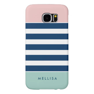 Pink White Navy Mint Stripes - Simple Elegant Samsung Galaxy S6 Cases