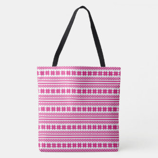 Pink White Norwegian Christmas Sweater Pattern Tote Bag