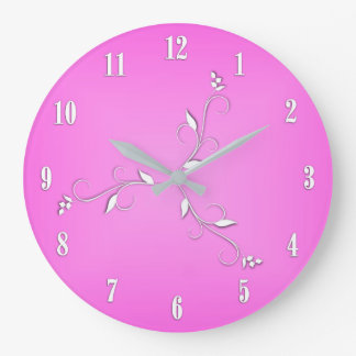 Pink White Numbers Vine Accents Large Clock