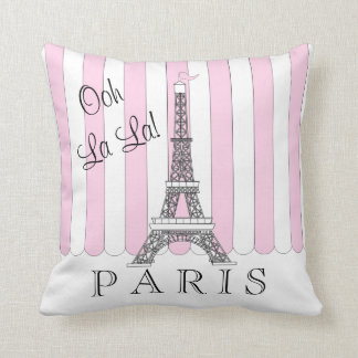 Pink | White Paris Eiffel Tower Ooh La La Cushion