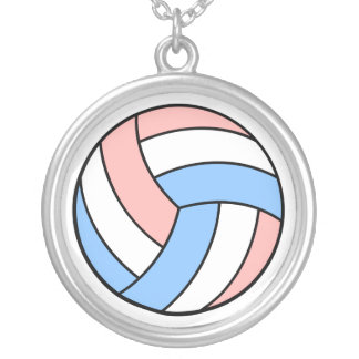 pink white pastel blue volleyball necklace