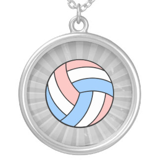 pink white pastel blue volleyball round pendant necklace