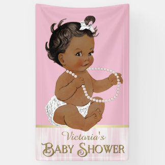 Pink White Pearl African American Girl Baby Shower