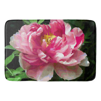 Pink White Peony Watercolor Fine Floral Bath Mats