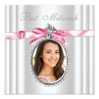 Pink White Photo Bat Mitzvah 13 Cm X 13 Cm Square Invitation Card