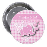 Pink & White Plaid Baby Elephant 7.5 Cm Round Badge