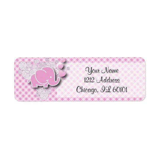 Pink & White Plaid Baby Elephant Return Address Label