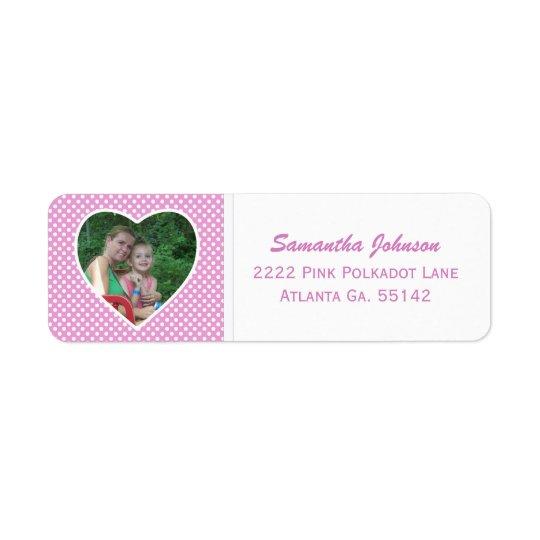 Pink & White Polka-dot: Framed Address Stickers