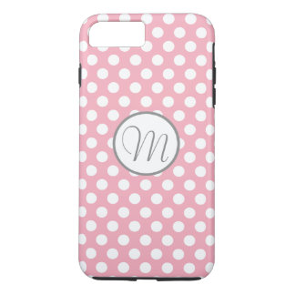 Pink White Polka Dot Monogram iPhone 7 Plus Cover