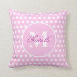 Pink White Polka Dot Monogram Pillow Cushion