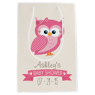 Pink & White Polka Dot Owl Baby Shower Medium Gift Bag