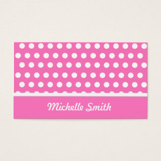 Pink White Polka Dots Business Card