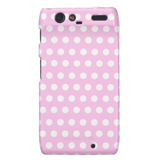 Pink White Polka Dots Pattern Droid RAZR Covers