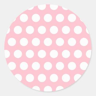 Pink White Polka Dots Round Sticker