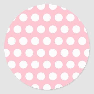 Pink & White Polka Dots Round Sticker