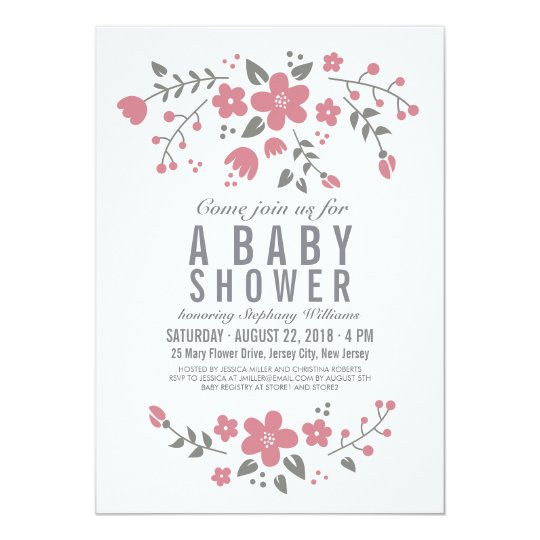 Pink White Pretty Floral Baby Shower Invite Girl