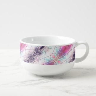 Pink, White, Purple And Blue Abstract Pattern Soup Mug