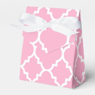 Pink White Quatrefoil Moroccan Pattern Favour Box