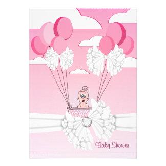 Pink White Ribbon Baby Girl Shower Invitation