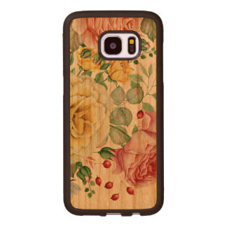 Pink & White Roses Illustration Wood Samsung Galaxy S7 Edge Case