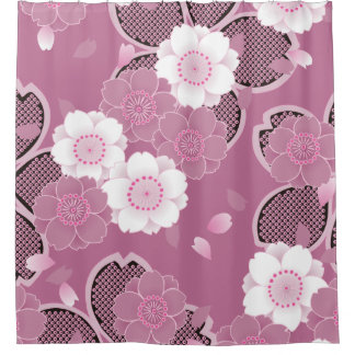 Pink & White Sakura 2 Fine Vintage Japanese Shower Curtain