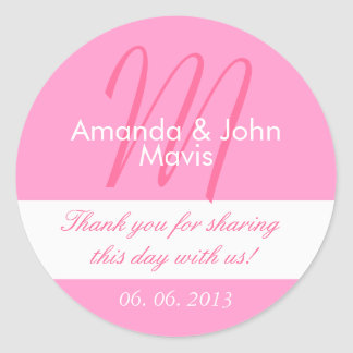 Pink White Simple Initial Wedding Favor Thank You Round Sticker