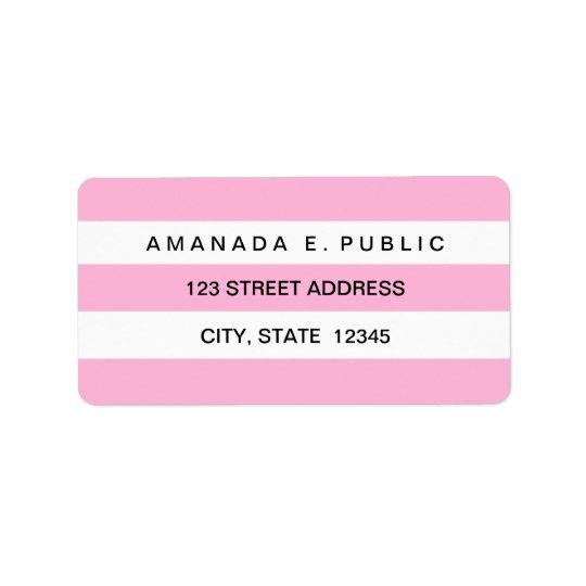 Pink White Solid Stripes Pattern Address Labels