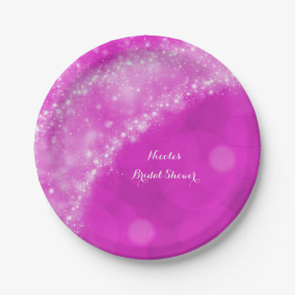 Pink & White Sparkle Cinderella Any Event Party 7 Inch Paper Plate