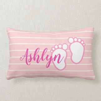 Pink White Stripe Baby feet Footprint Personalised Lumbar Cushion